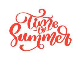 Hand getrokken tijd naar zomer vector belettering logo