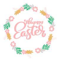 Hand getrokken belettering Happy Easter krans met bloemen vector