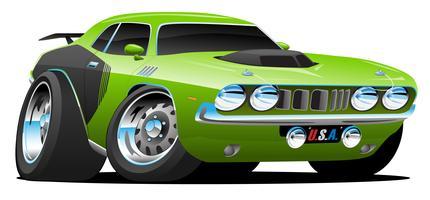 Klassieke jaren 70 stijl Amerikaanse Muscle Car Cartoon vectorillustratie