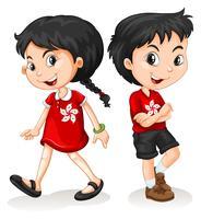 Kleine jongen en meisje uit Hong Kong vector