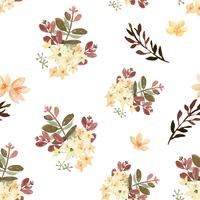 De stijl uitstekende textiel van de patroon naadloze bloemen weelderige die waterverf, bloemenaquarelle op witte achtergrond wordt geïsoleerd. Ontwerp bloemen decor voor kaart, bewaar de datum, bruiloft uitnodigingskaarten, poster, banner. vector