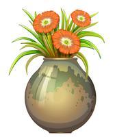 Een grote pot met bloemen vector