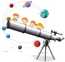 Childrean en gigantische telescoop vector