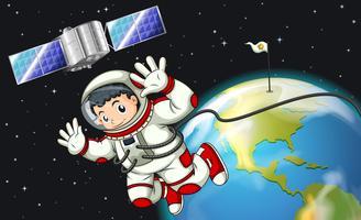 Een astronaut in de buitenruimte bij de satelliet