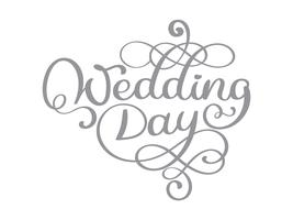 Vintage bruiloft dag vector tekst op witte achtergrond