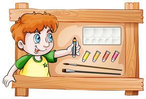 Een lijst met een jonge schilder vector