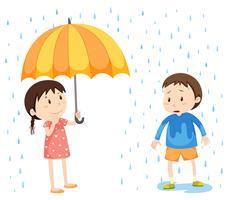 Meisje en jongen in de regen