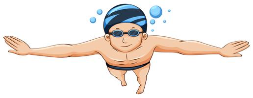 Zwemmer die GLB en beschermende brillen draagt