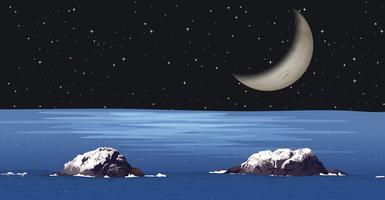 Een donkere nacht aan de oceaan vector