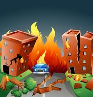 Aardbeving met grote brand in de stad