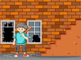 Een moeilijke jongen breek het raam