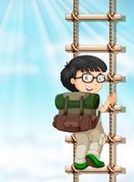 Jongen die op de ladder beklimt vector