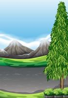 Scène met bergen en veld