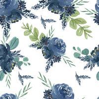De stijl uitstekende textiel van de patroon naadloze bloemen weelderige die waterverf, bloemenaquarelle op witte achtergrond wordt geïsoleerd. Ontwerp bloemen decor voor kaart, bewaar de datum, bruiloft uitnodigingskaarten, poster, banner.