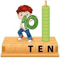 Een jongen die nummer tien aanbood