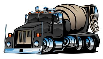 Cement mixer vrachtwagen cartoon vectorillustratie