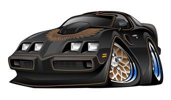 Klassieke Amerikaanse zwarte spierauto Cartoon afbeelding