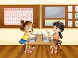 Twee meisjes die aan computer in klaslokaal werken vector