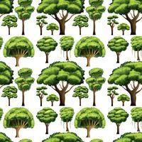 Naadloos ontwerp als achtergrond met verschillende soorten bomen
