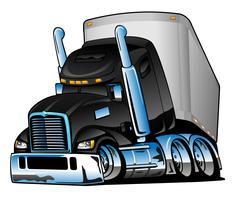 Semi-vrachtwagen met aanhangwagen Cartoon vectorillustratie