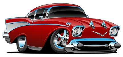 Klassieke hete staaf 57 spierauto, laag profiel, grote banden en randen, snoepjesappelrood, beeldverhaal vectorillustratie