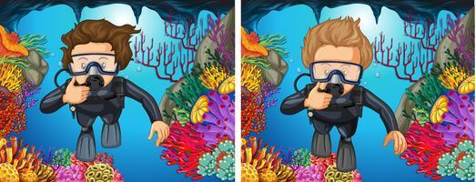Duikers die onder de oceaan duiken vector