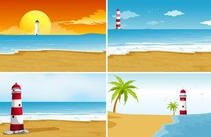 Vier achtergrondscènes met strand en oceaan
