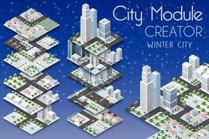 Maker van stadsmodule isometrisch vector