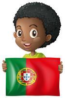 Gelukkige jongen met vlag van Mexico