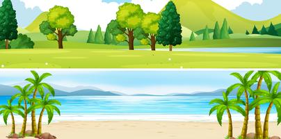 Twee scènes van park en strand vector