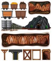 Een set van mijnbouwelementen
