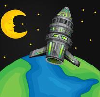 Ruimteschip dat over de wereld vliegt
