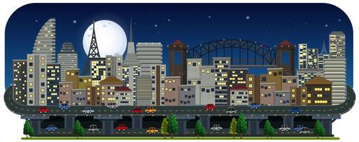 Een panoramisch uitzicht op de stad bij nacht vector