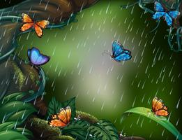 Diepe bosscène met vlinders die in de regen vliegen vector