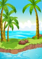 Scène met kokospalmen op eiland