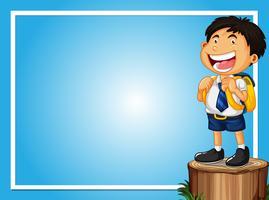 Kadersjabloon met gelukkige jongen op logboek vector