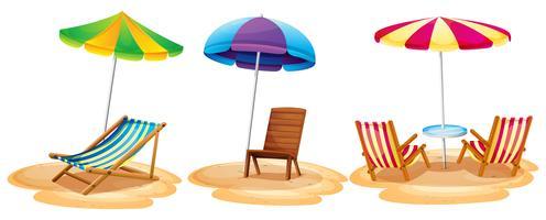 Veel stoelen op het strand vector