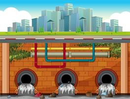 A Drain System Underground in Big Town vector
