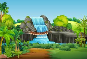 Een natuur waterval landschap vector