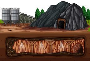 Een kolenmijn boven en ondergronds vector
