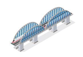 Spoorweg isometrische brug met spoorweg en op hoge snelheid vector