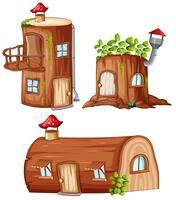 Set van betoverde houten huis