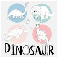 Dinosaurussen in vier verschillende soorten vector