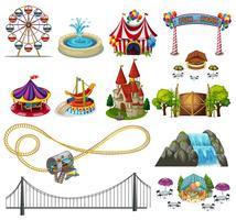Een set van themapark-elementen