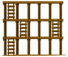 Houten ladders op drie niveaus