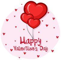 Kaartsjabloon voor Valentijnsdag met hart ballonnen