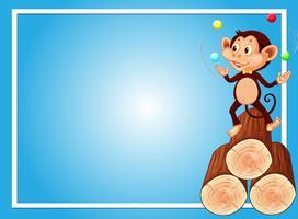 Blauw achtergrondmalplaatje met aap het jongleren met ballen