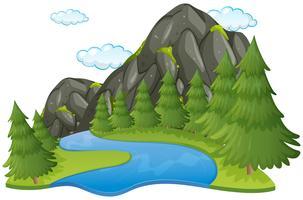 Scène met rivier en berg vector