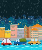 stormachtige nacht en overstromingsstad vector