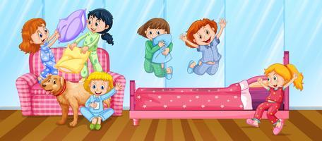 Meisjes met slaapfeestje in de slaapkamer vector